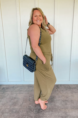 Sleeveless Jogger Jumpsuit in Khaki Olive - PLUS