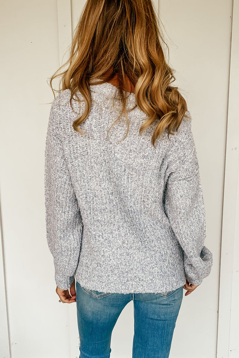 The Natalie Off the Shoulder Sweater in Icy Blue - LURE Boutique