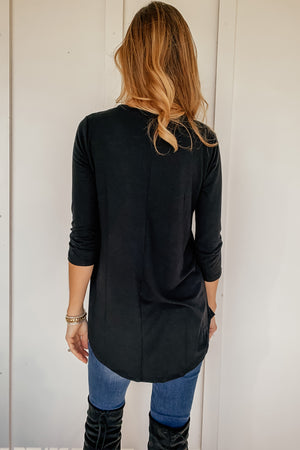 Classic 3/4 Sleeve V-Neck in Black