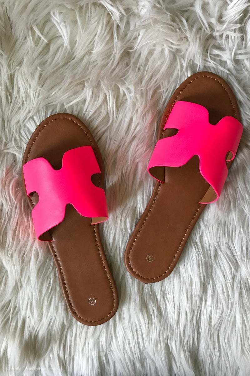 Hot Pink Slides - LURE Boutique