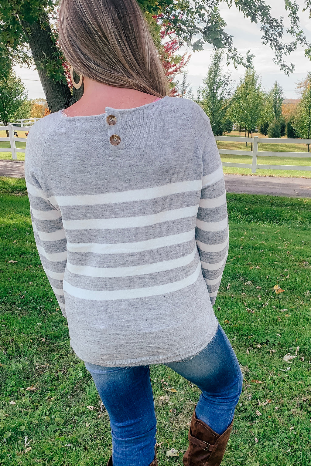 Cozy Knit Gray & White Striped Sweater