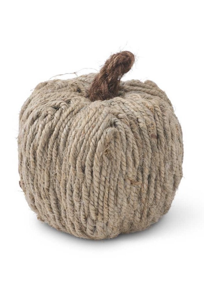 "4.5"" Jute Wrapped Pumpkin - LURE Boutique"