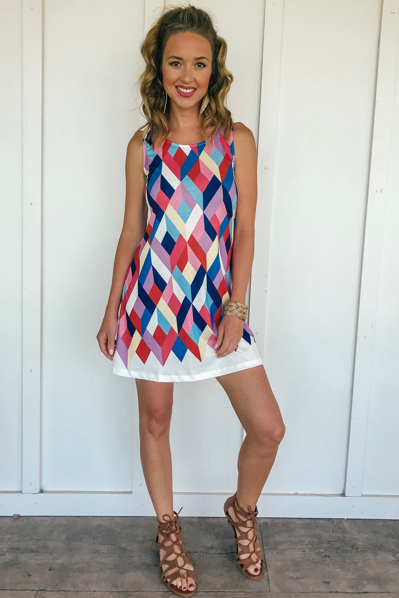 Geometric Colorblock Dress - LURE Boutique
