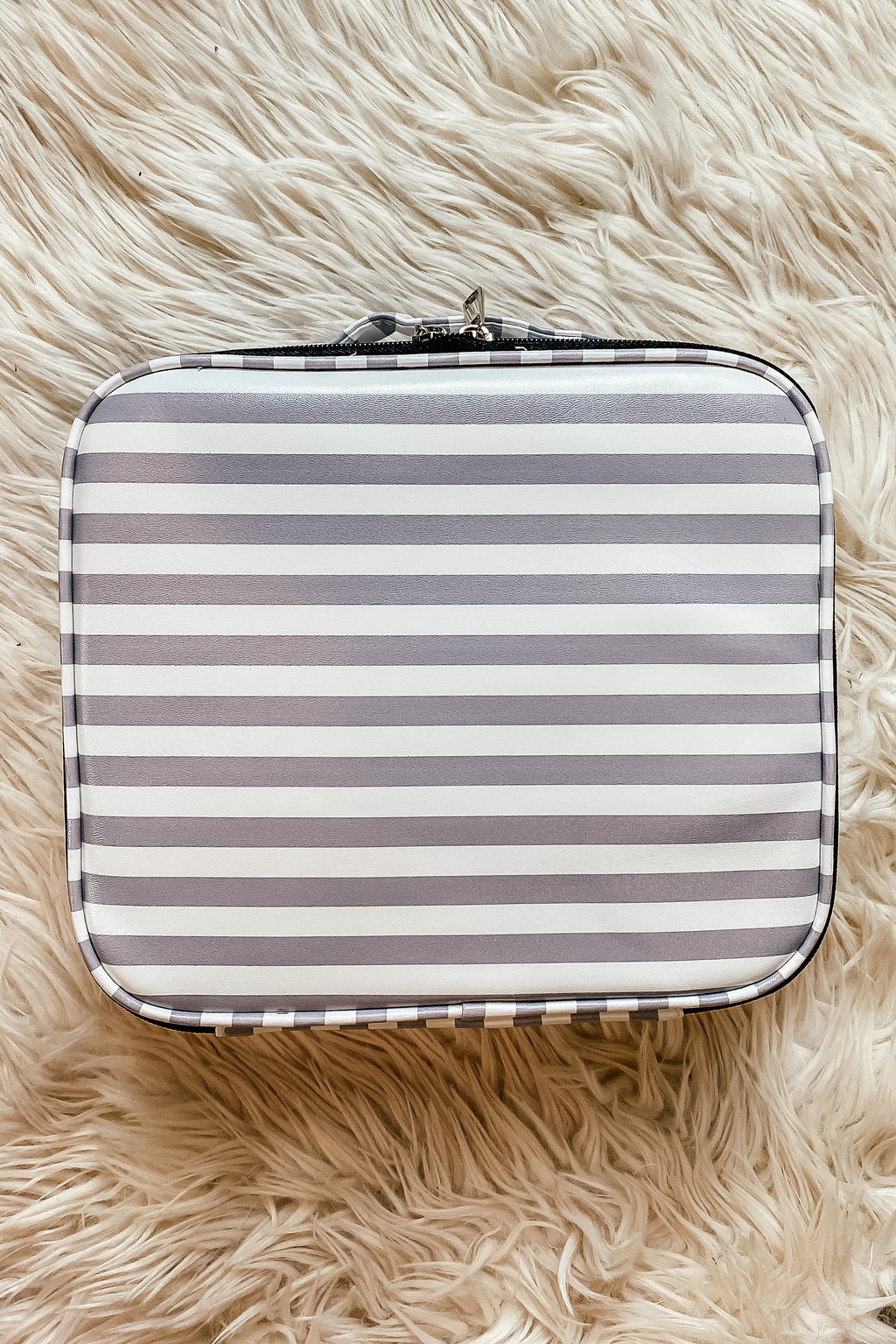 Classic Grey Stripe Makeup Bag