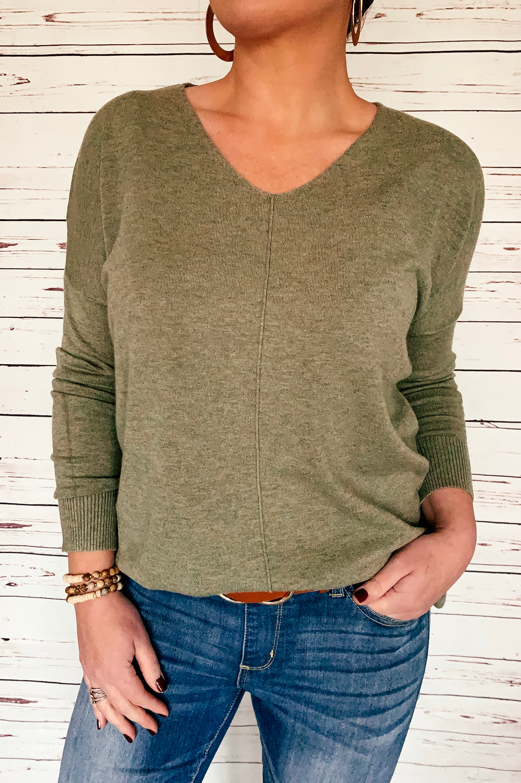 The Elizabeth V-Neck Sweater - Olive