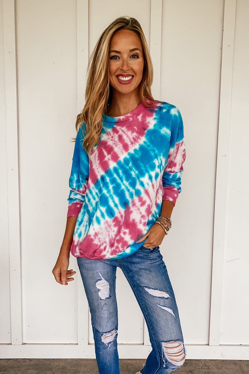 Color Contrast Tie Dye Sweatshirt in Blue and Pink