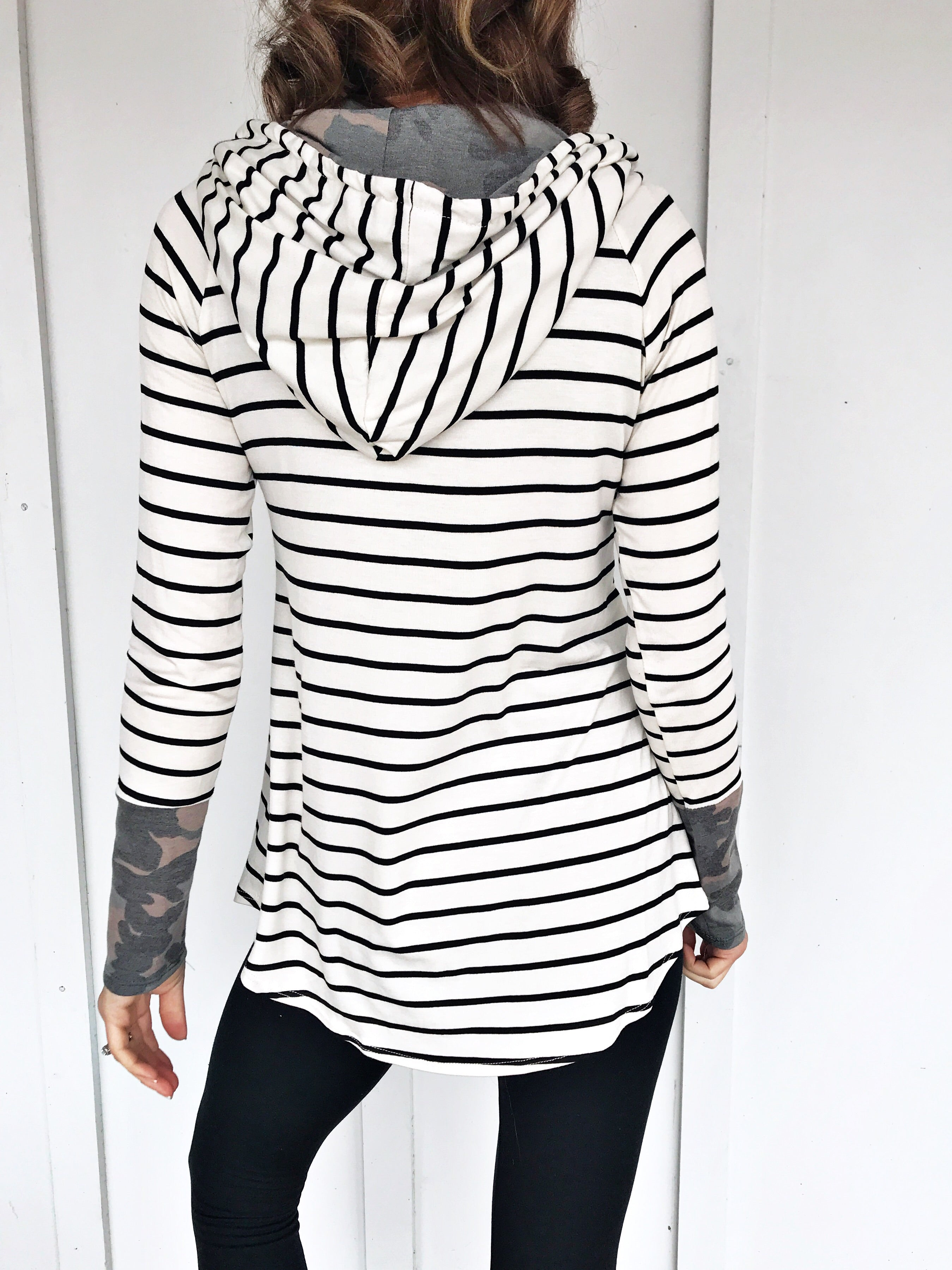 Stripes and Camo Tunic Top