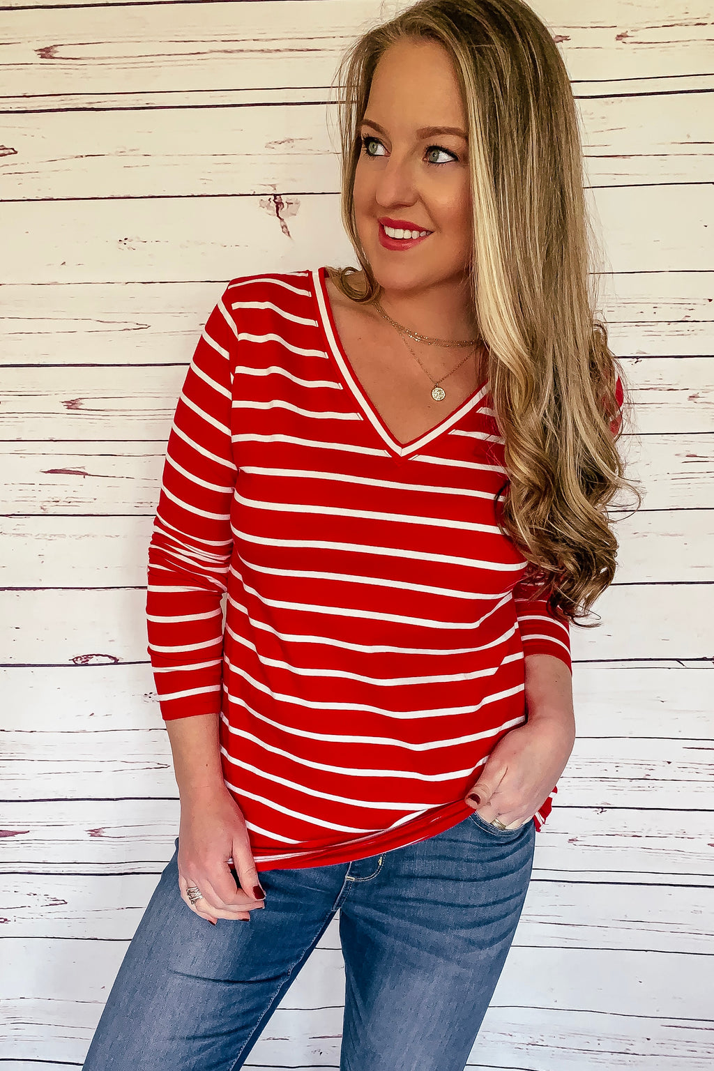 Tiffany Striped Long Sleeve Top - Ruby Red