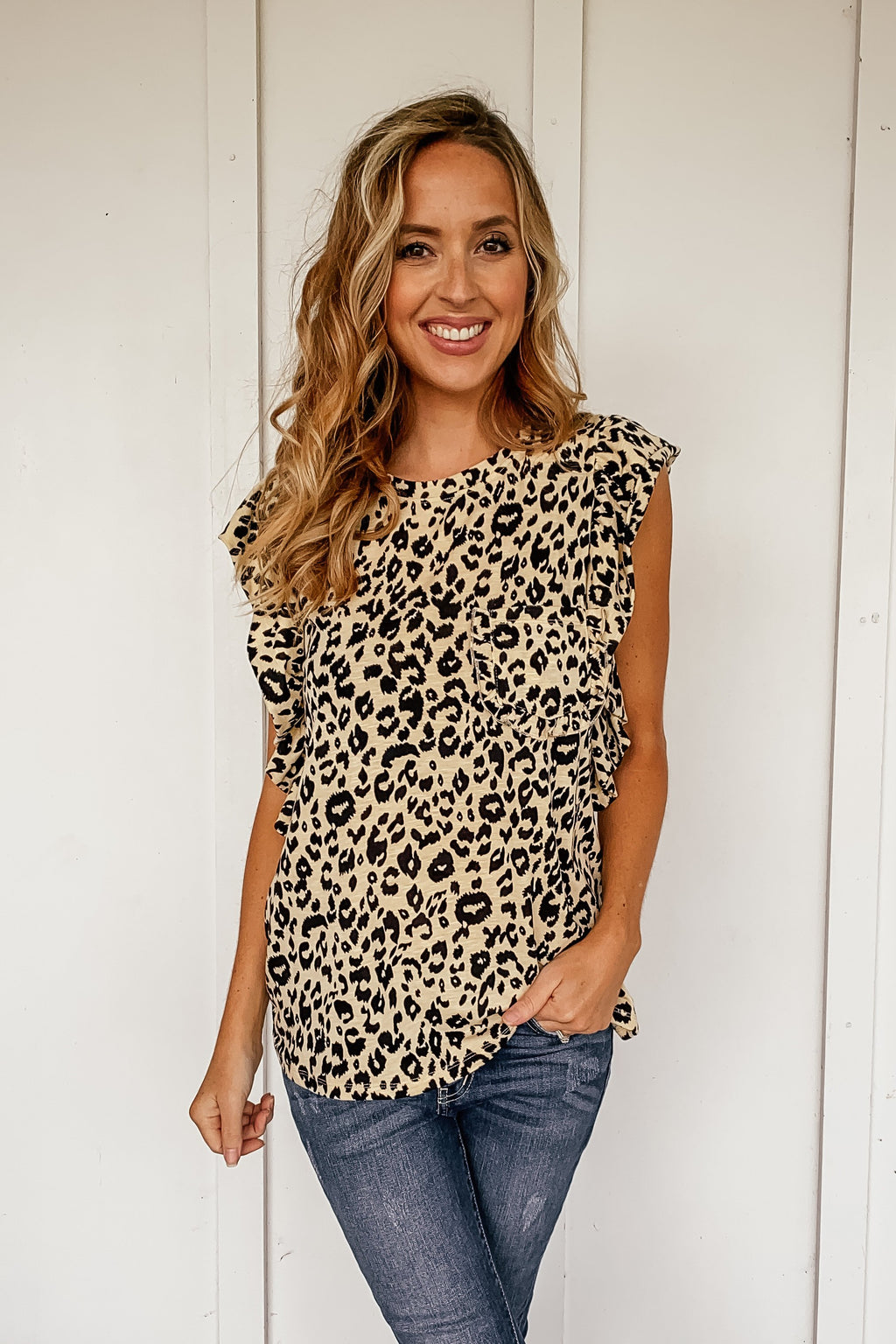 Ruffle Leopard Top - LURE Boutique