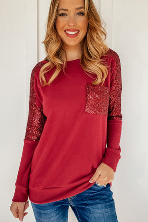 The Macy Sequins Pullover in Red