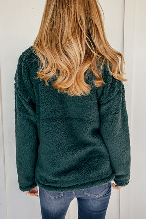 Soft Sherpa Pullover in Hunter Green