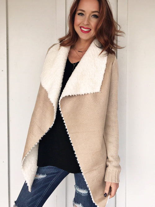 Fleece Lined Faux Leather Sweater Jacket