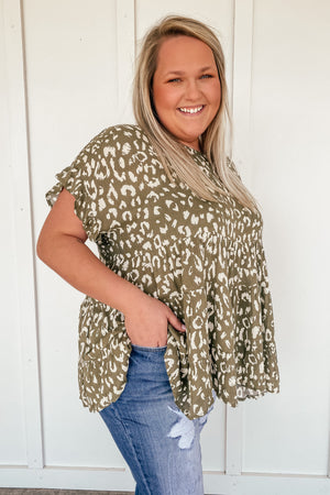 Olive Leopard Print Babydoll Top in PLUS