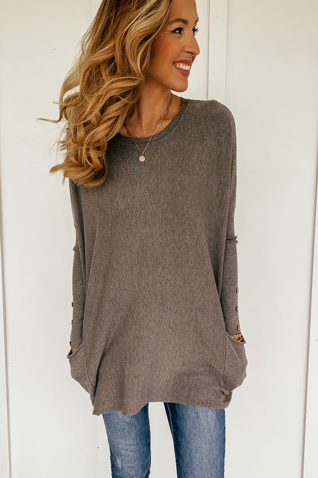 Oversized Pocketed Sweater in Charcoal