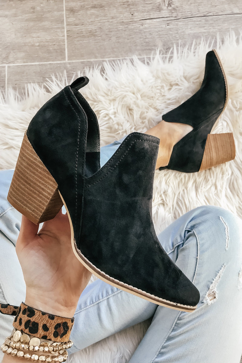 The Avery Faux Suede Bootie in Black