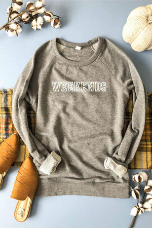 PREORDER - Weekends Pullover Terry Raglan Sweatshirt