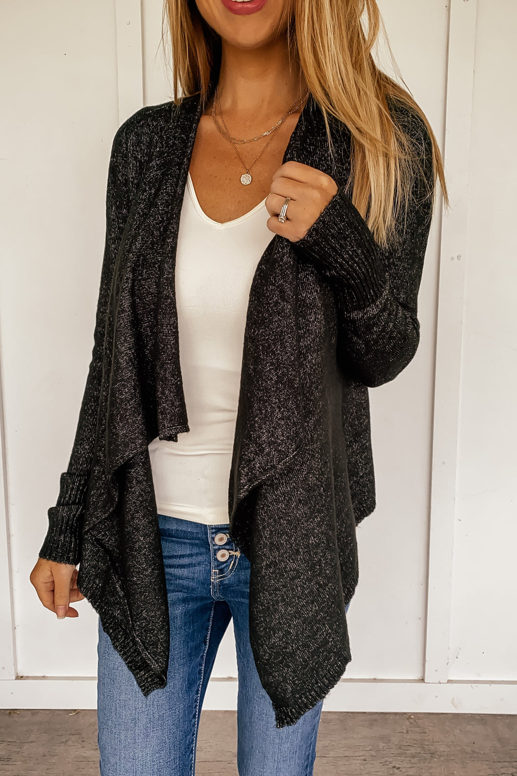 Midtown Open Cardigan in Heather Black - LURE Boutique