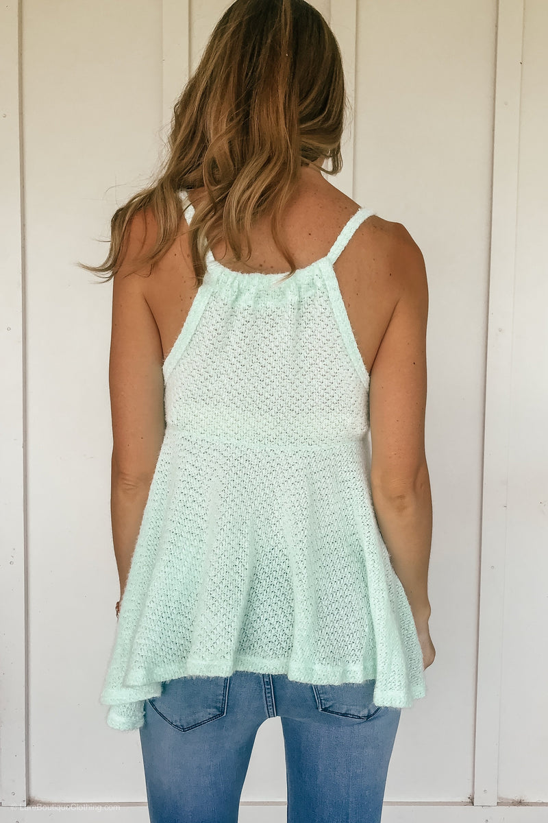 Flirty Flared Cami Top in Mint