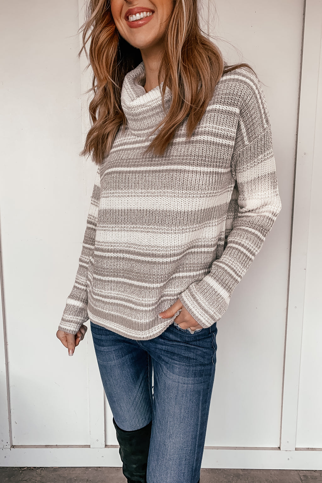 Striped Savannah Turtleneck Sweater