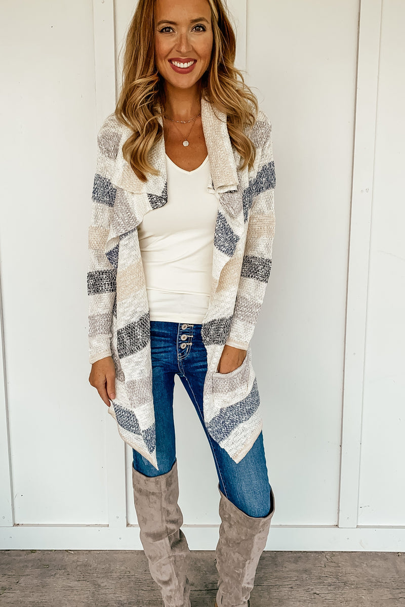 Sarah Striped Open Cardigan - LURE Boutique
