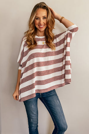 Premier Striped Poncho Top in Berry