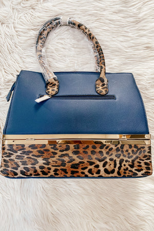 Navy and Leopard Luxe Bag with Wallet - LURE Boutique