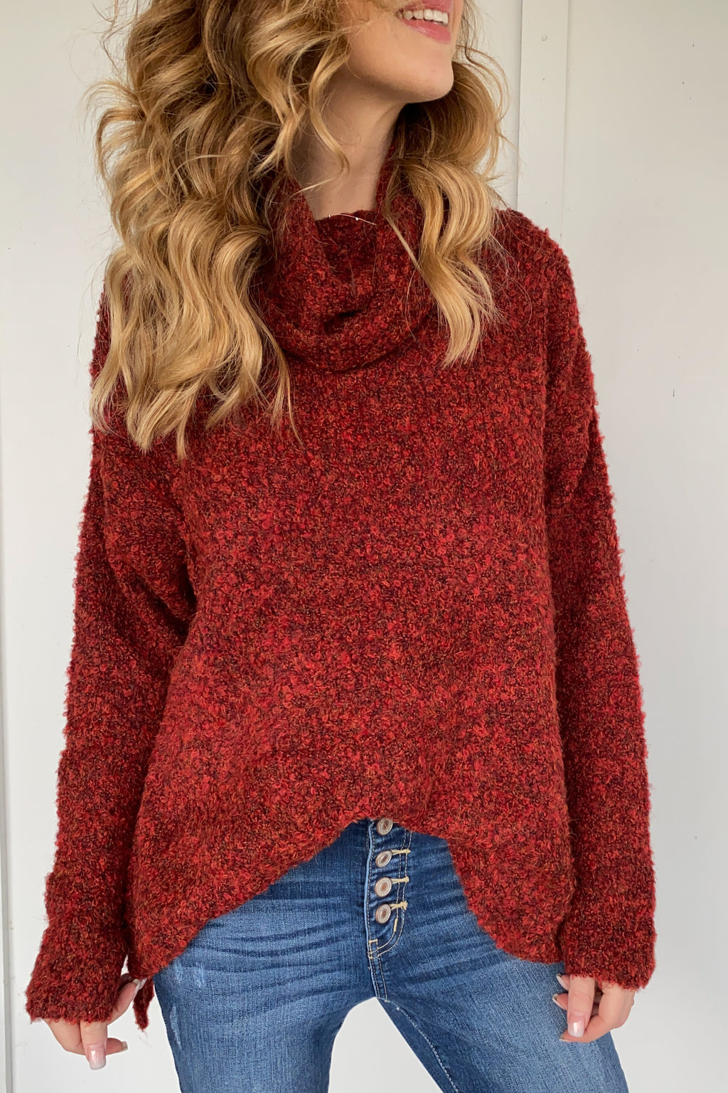 Troy Textured Cowl Neck Sweater in Tomato