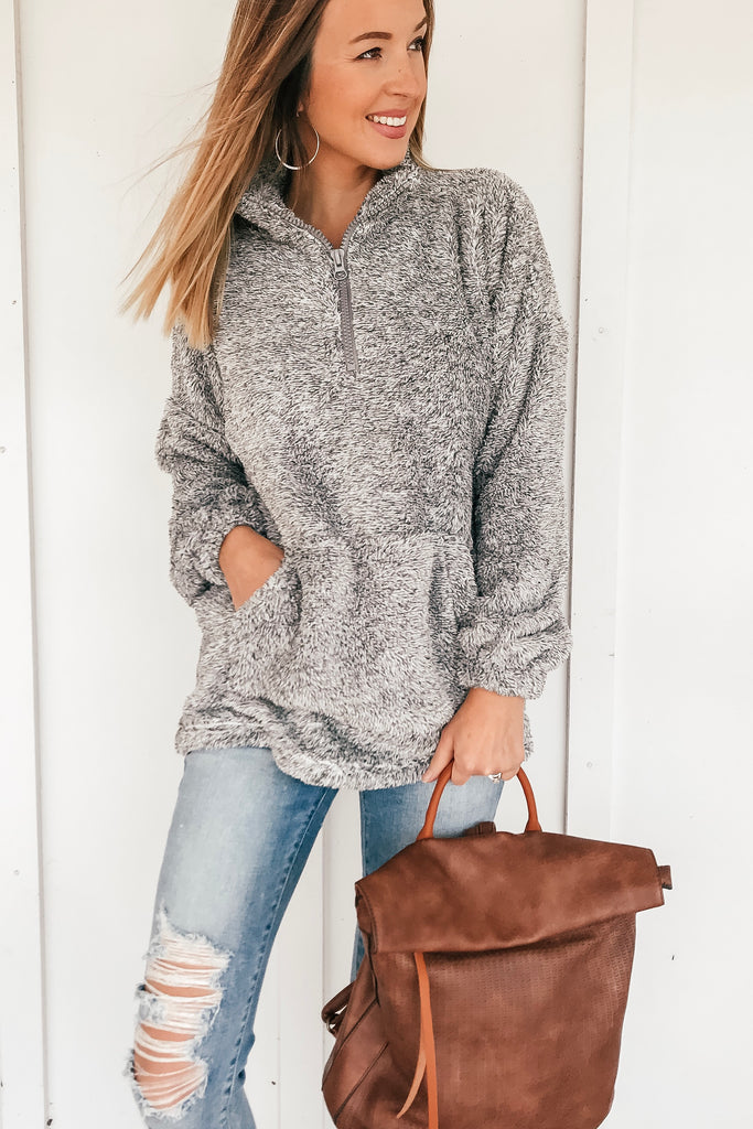 The Delaney Fuzzy Pullover in Charcoal