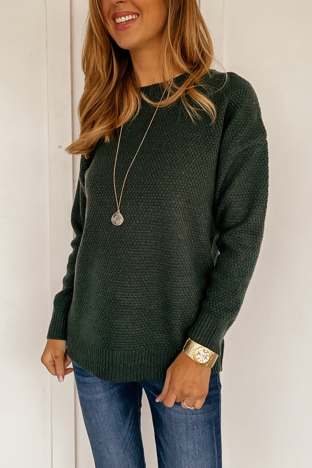 The Simple Shelby Sweater in Hunter Green
