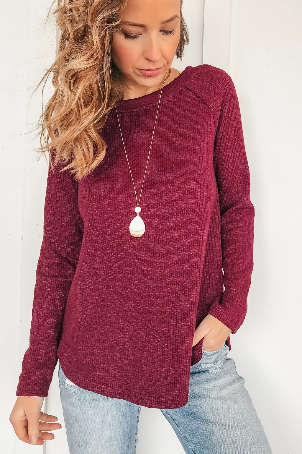 Crochet Back Burgundy Sweater