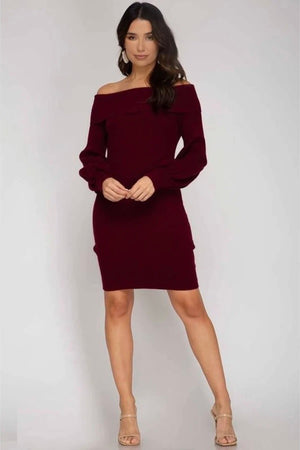 Sweet Love Off The Shoulder Sweater Dress