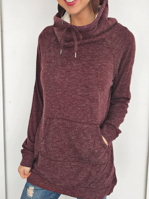 Cozy Sherpa Neck Pullover in Wine