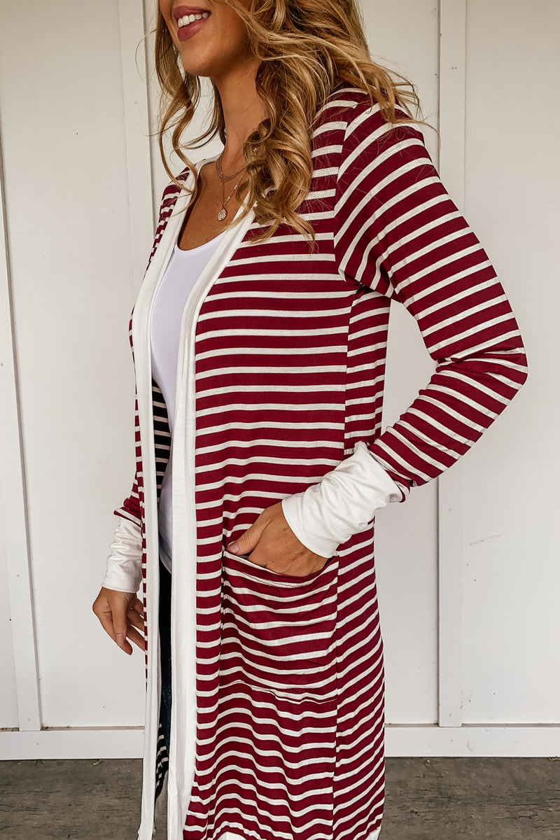 Takin It Easy Burgundy Striped Cardigan - LURE Boutique