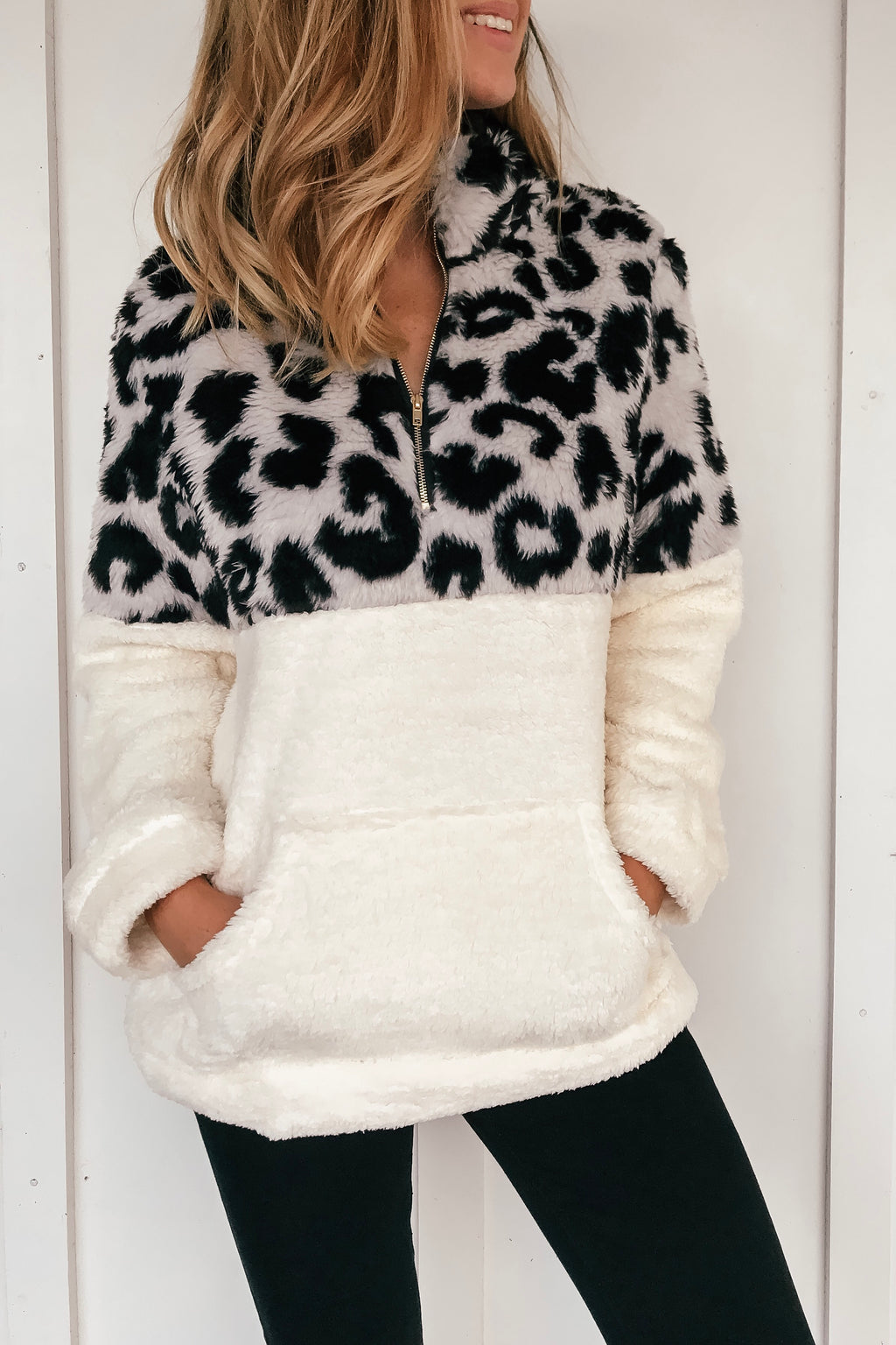 Gray Leopard Fuzzy Pullover