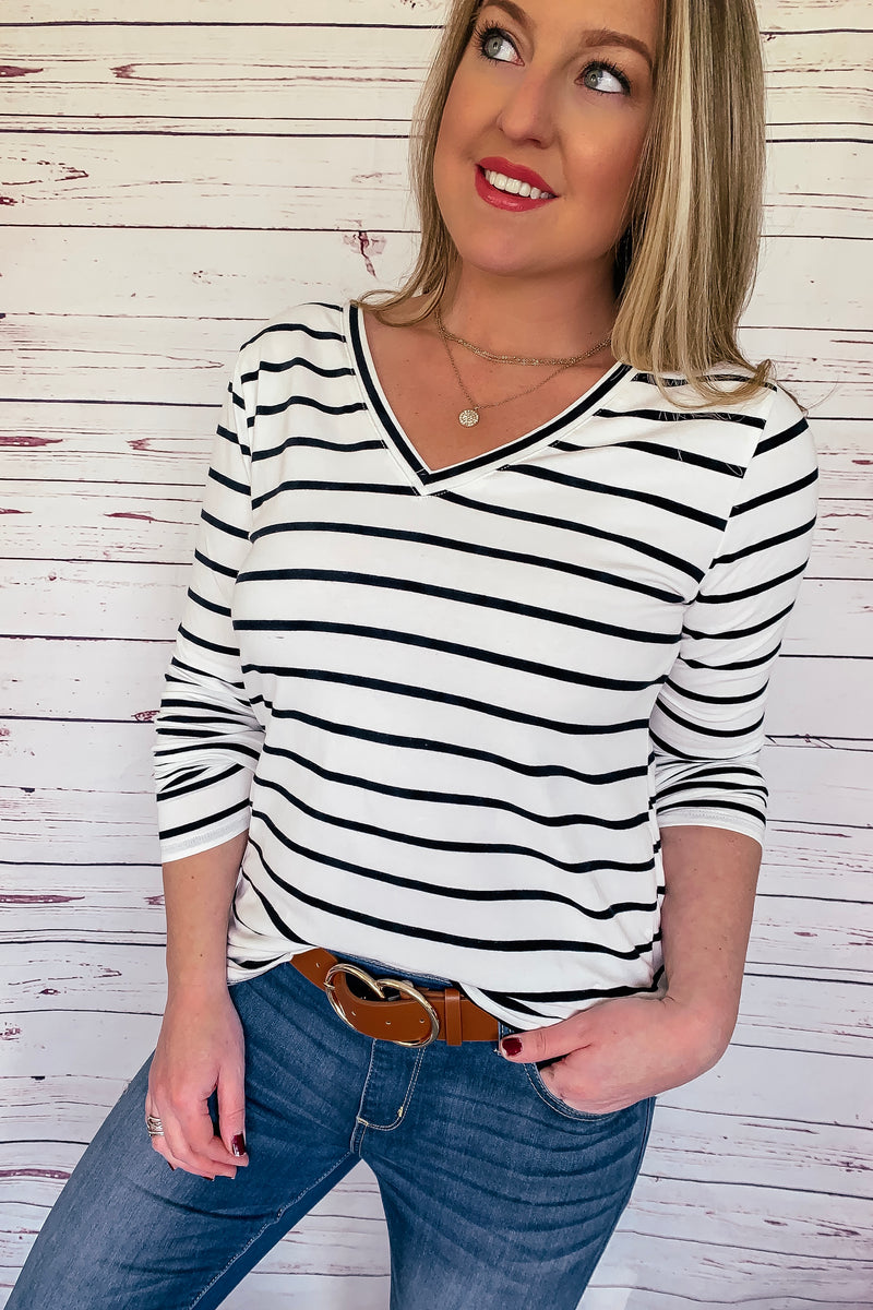 Tiffany Striped Long Sleeve Top - Black/White