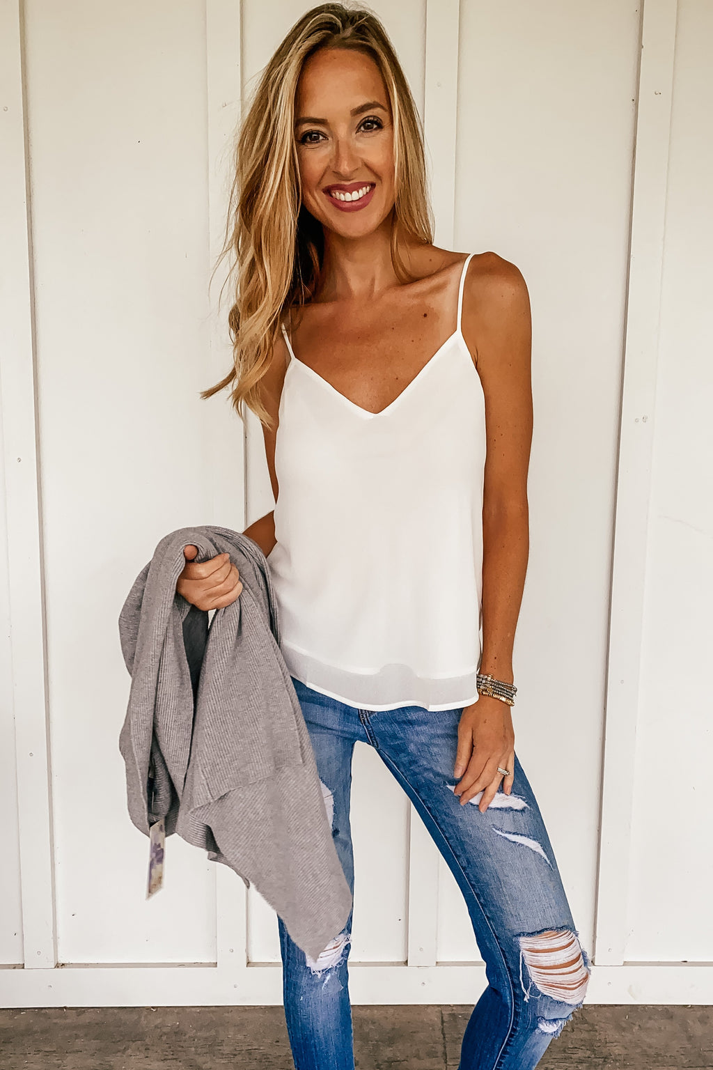 Double Layered Cami in White & Black