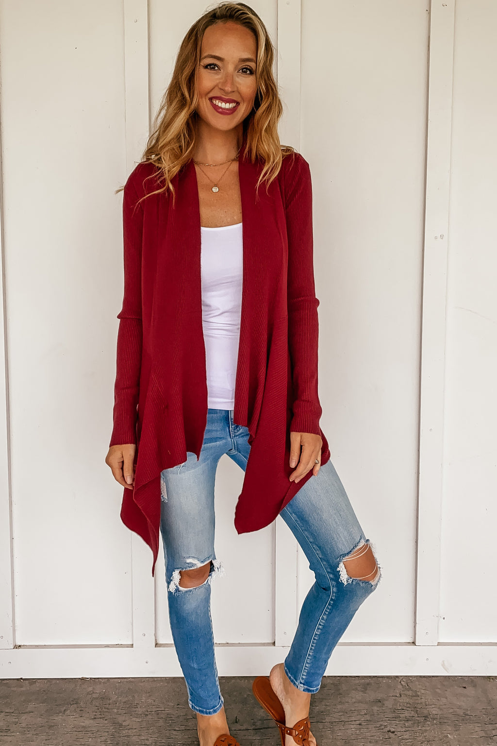 Tabitha Drapey Cardigan in Wine - LURE Boutique