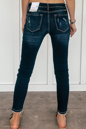 Gemma Distressed Kancans in Dark Wash - LURE Boutique