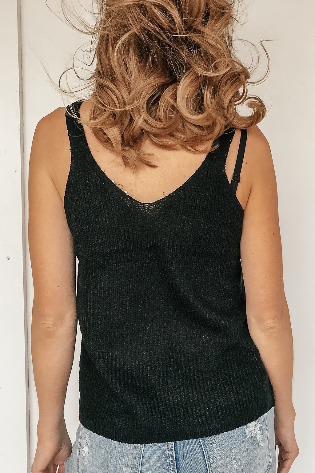 Black Knit Vneck Tank