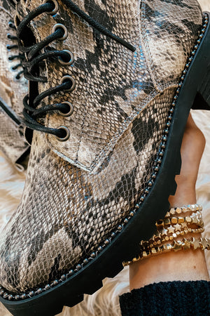 The Conquest Snakeskin Combat Boots