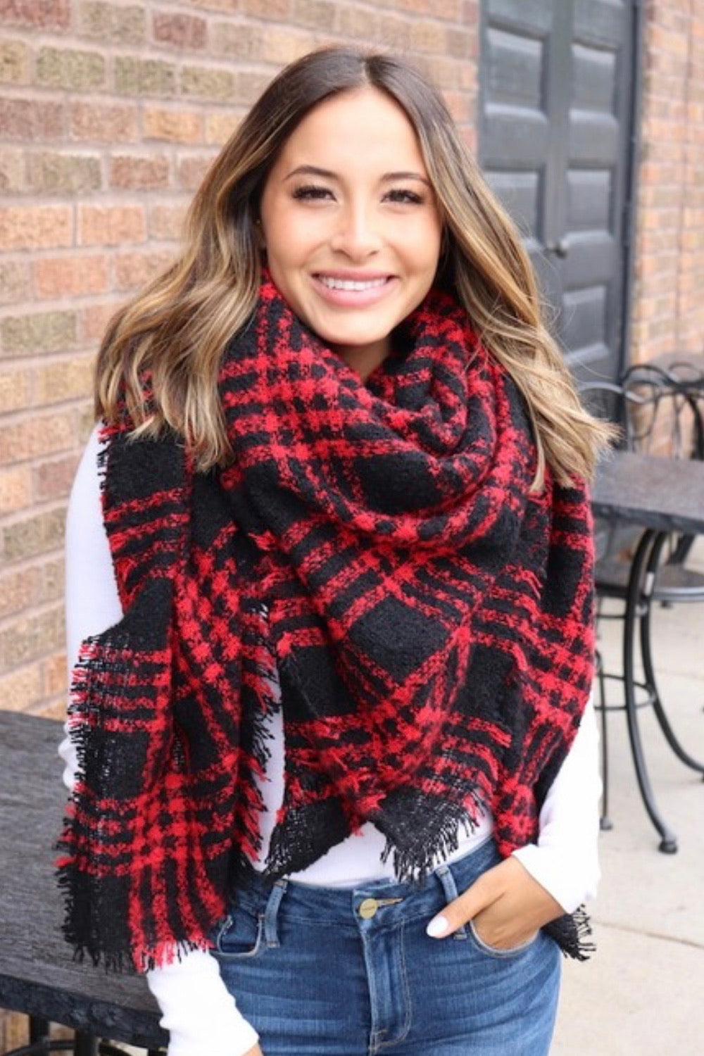 Red Plaid Scarf & Mittens