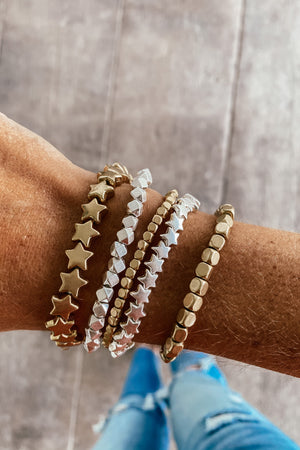 Two Tone Beads and Stars Bracelet Set - LURE Boutique