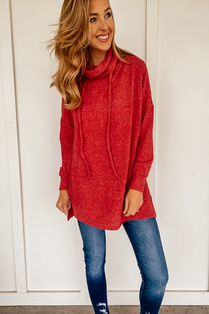 The Comfy Cozy Tunic in Red