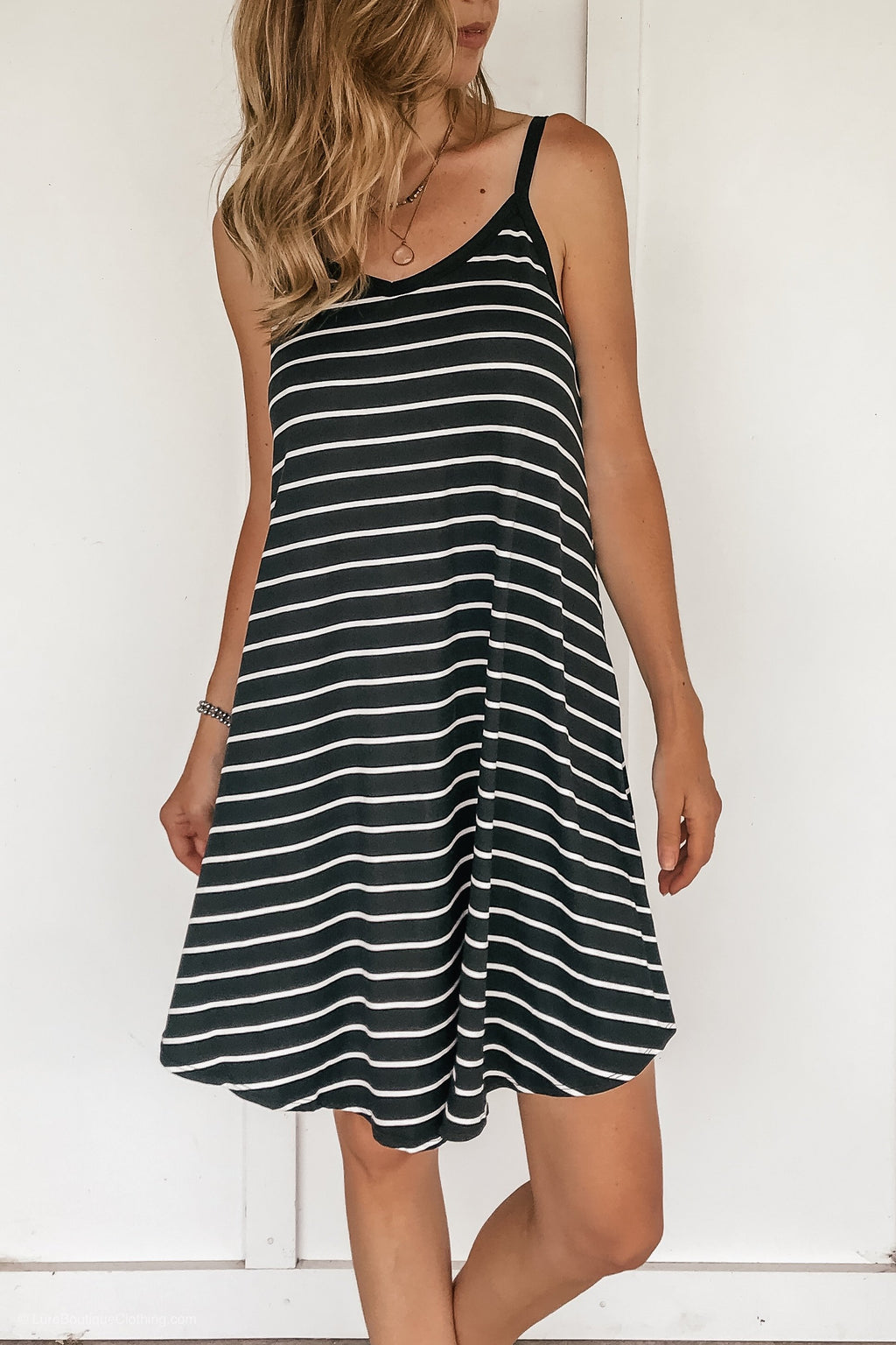 Black Striped Swing Dress - LURE Boutique