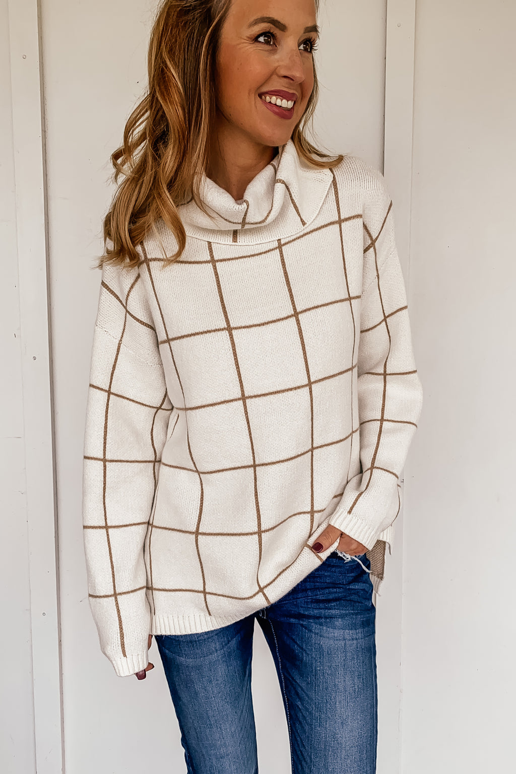 Checkered Turtleneck in Cream