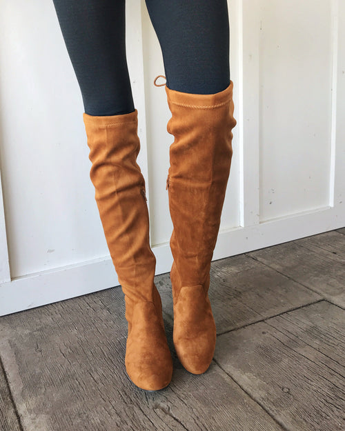 Ginger Tan Over the Knee Suede Boots