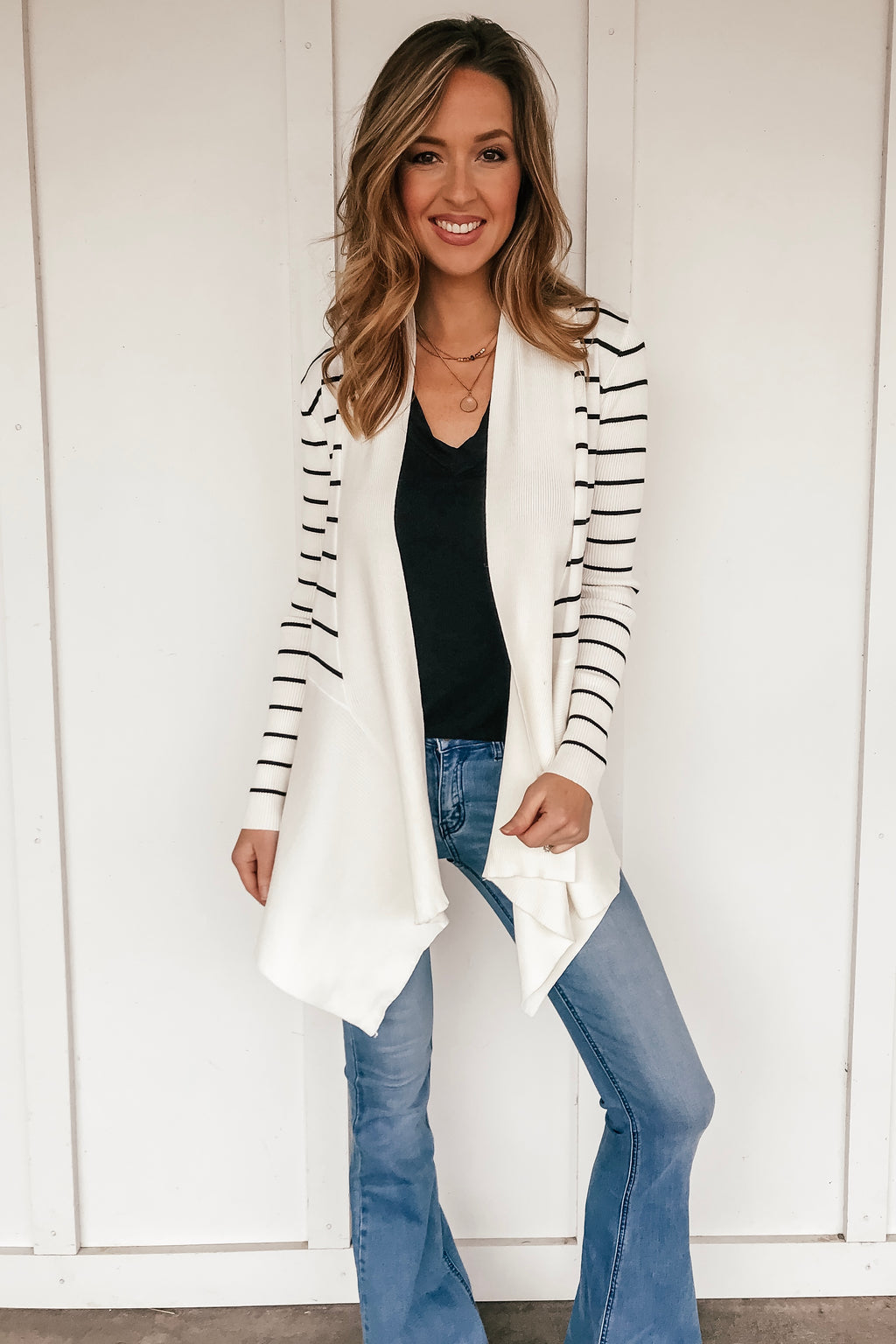 The Striped Waterfall Cardigan