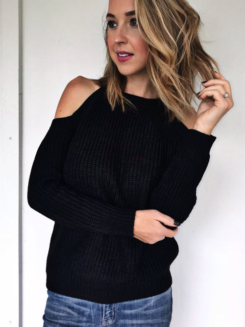 Knit Cold Shoulder Sweater in 3 Colors