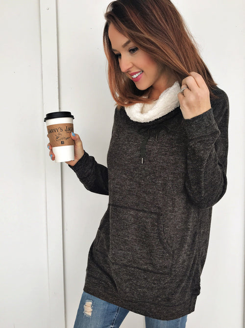 Cozy Sherpa Neck Pullover in Charcoal