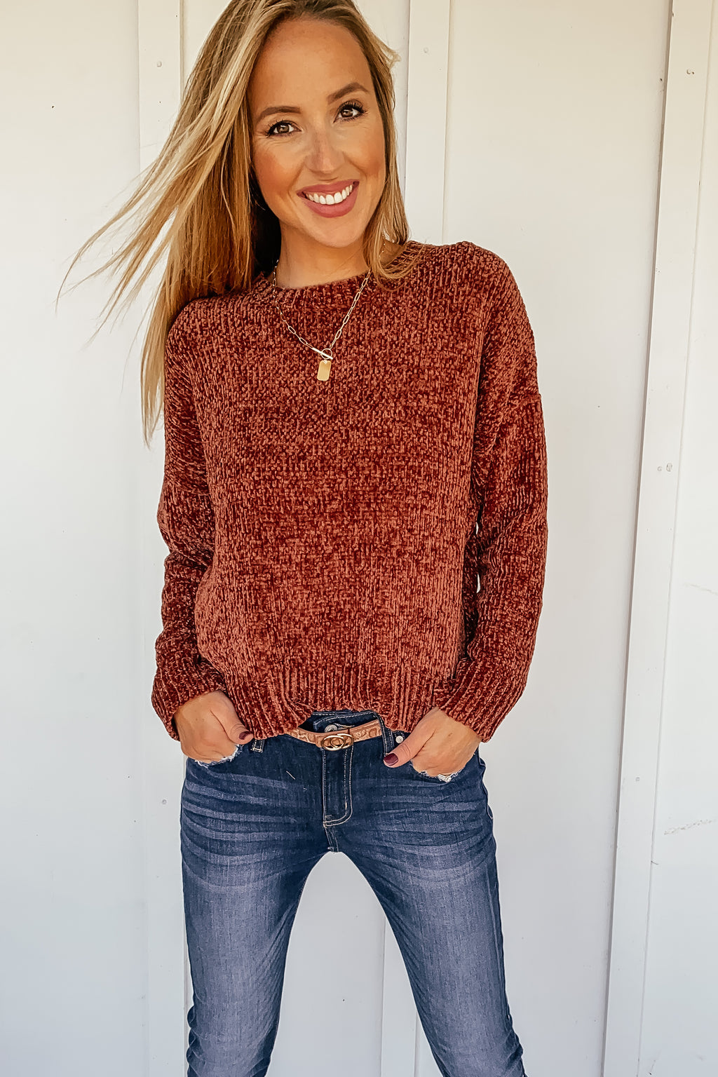 Nashville Chenille Sweater in Whiskey